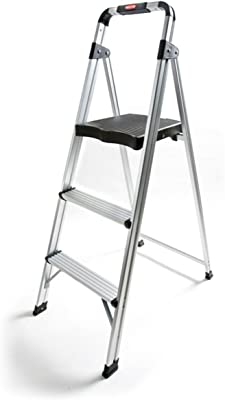 Rubbermaid RM-AUL3G 3-Step Ultra-Light Aluminum Stool with Plastic Top Step, 225 lb Capacity, Silver Finish