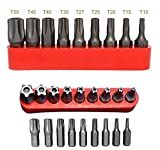 ALAZCO 5-Point Star Bit Tamper-Proof 9pc Bit Set - 1/4' Screwdrivers Sockets & Power Tool Shank hex bits - Fits Many German Cars - T10 to T50 - Premium Quality Taiwan - AZ9SBS