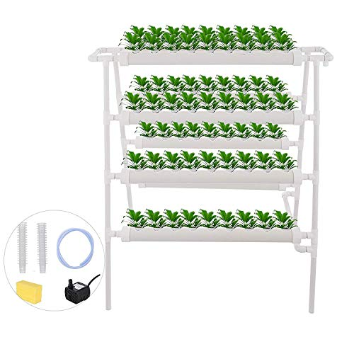 Mophorn Hydroponic Site Grow Kit 4 Layers 72 Plant Sites Hydroponic Growing System 8 Pipes Water Culture Garden Plant System for Leafy Vegetables Lettuce Herb Celery Cabbage
