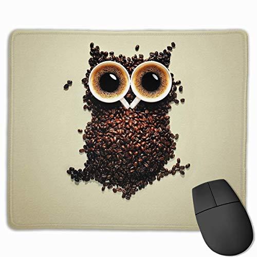 Mauspad Kaffee Eule Lustiges Muster Rechteck Gummi Mousepad Zoll Gaming Mauspad mit schwarzer Verriegelungskante