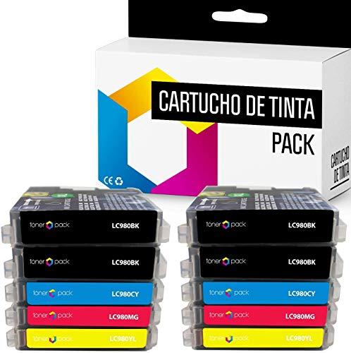 10 TONERPACK LC-980XL Cartuchos de Tinta Compatible para impresoras Brother DCP-145C DCP-163C DCP-165C DCP-167C DCP-185C DCP-195C DCP-197C DCP-365CN (Pack 10)