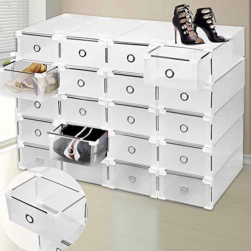ZZXXJJ Juego de 24 Cajas de Almacenamiento de Zapatos Plegables Transparentes con cajones y Zapatero Ajustable apilable de Bricolaje Resistente para SDB,Garaje,Dormitorio,Sala de Estar