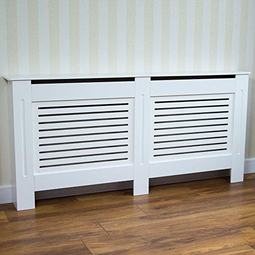 Vida Designs Milton Radiator Cover Modern White Painted MDF Cabinet, Large