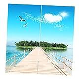 Baoblaze 2er-Set Vorhang Schal Verdunkelungsvorhang Blickdicht für Wohnzimmer Schlafzimmer, Auswahl - Meerblick