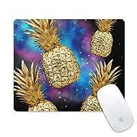 高速で正確な制御のための滑り止めゴムベースと滑らかな表面速度のマウスマットを備えたパイナップル滑り止めマウスパッド耐久性のある(Golden Galaxy Pineapple)