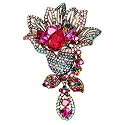 Red Vintage Rhinestone Flower Pin Crystal Brooch