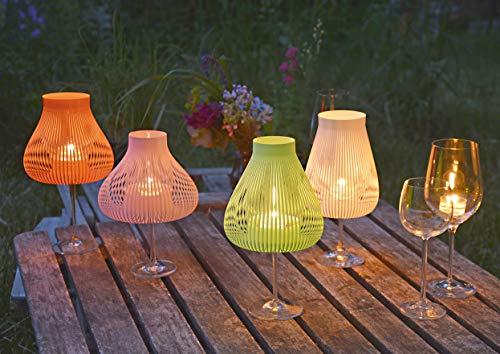 Lampenschirme für Weingläser mit Teelicht, Windlicht 4er Set bunt MISS MOLLY