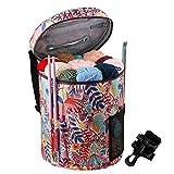Coopay Bolsa de tejer, bolsa de ganchillo para proyectos de tejer, bolsas de punto para almacenamiento de lana y agujas,hilo con bolsillo para accesorios,organizadores de tejer manualidades, bosque