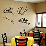 Etiqueta De La Pared Etiqueta De La Pared Etiqueta De La Pared Diseño Mural Sushi Roll Palillos Restaurante Sushi Bar Comida Wasabi Roll 59X42Cm
