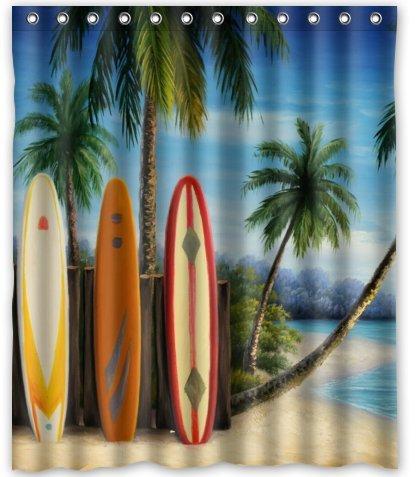 KXMDXA Amazing Surfboards Waterproof Polyester Bath Shower Curtain Size 60x72 Inch