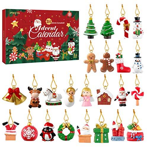 Calendário de Advento IMIKEYA 2020 com 24 peças de ornamentos de Natal de resina, decorações de Natal, enfeites de árvore de Natal para carro de escritório em casa