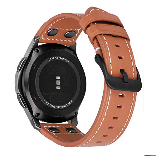 MroTech 22mm Correa Compatible para Samsung Gear S3 Frontier/Classic/Galaxy Watch 46mm Pulsera de Repuesto para Huawei Watch GT Active/Elegant/GT2 46 mm Reloj Banda Cuero Piel 22 mm moderno Marrón