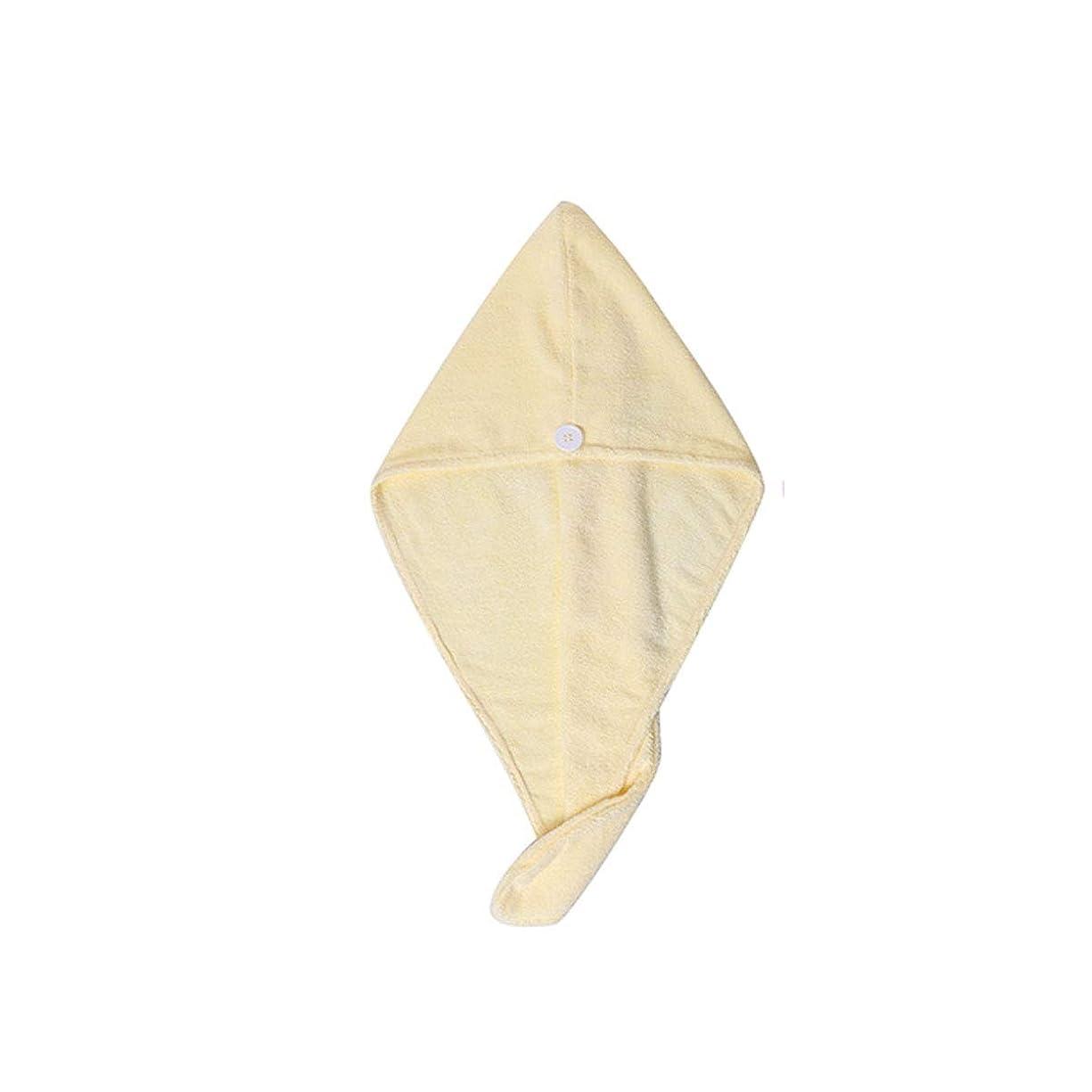 企業パイント出血XiaoNUO シャワーキャップ、乾いた髪のキャップ、女性用軟吸収剤および速乾性シャワーキャップ、タオル1枚、フード付きシャワーキャップ、ピンク、黄色、紫 髪を乾いた状態に保ちます。 (Color : Yellow)