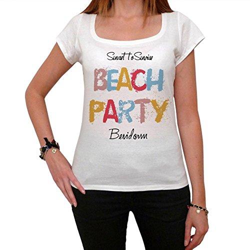 Benidorm Beach Party, La Camiseta de Las Mujeres, Manga Corta, Cuello Redondo, Blanco