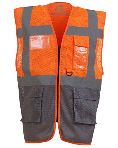 Yoko - Gilet da uomo Hi Vis Executive Open Mesh gilet arancione/grigio