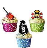 Precortado Guns N Roses mezcla–Decoración comestible para cupcakes/tarta decoración (Pack de 12)