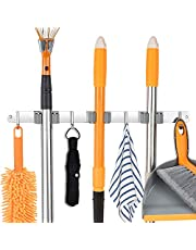 Stainless Steel Wall Mount, Broom Mop Holder Heavy Duty Tool Storage Organization, Screws Drilling Or Self-adhesive Installation Suitable for Home, Kitchen, Bathroom, Garage, Closet and Shed