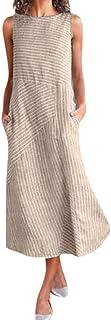 TOPUNDER Women Casual Striped Sleeveless Dress Crew Neck Linen Pocket Long Dress