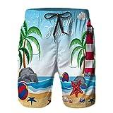 Hombres Playa Bañador Shorts,Faro de Fondo de Verano en la ilustración de la Isla,Traje de baño con Forro de Malla de Secado rápido 4XL