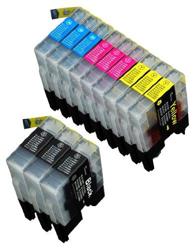 12 Multipack de alta capacidad Brother LC1240 , LC1280 Cartuchos Compatibles 3 negro, 3 ciano, 3 magenta, 3 amarillo para Brother DCP-J525W, DCP-J725DW, DCP-J925DW, MFC-J430W, MFC-J5910DW, MFC-J625DW, MFC-J6510DW, MFC-J6710DW, MFC-J6910DW, MFC-J825DW. Cartucho de tinta . LC-1240BK , LC-1240C , LC-1240M , LC-1240Y © 123 Cartucho
