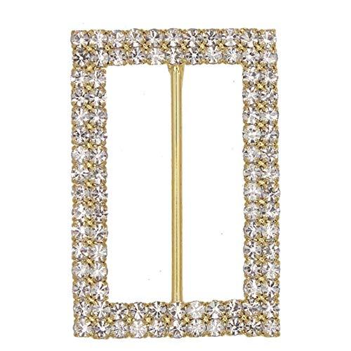 YZRDY Massivem Messing 40mm Rhinestone-Wölbungen for Band-Slider-Metallkristall Schnalle DIY Zusatz-Dekoration 5pieces Durable (Color : Gold Buckle)