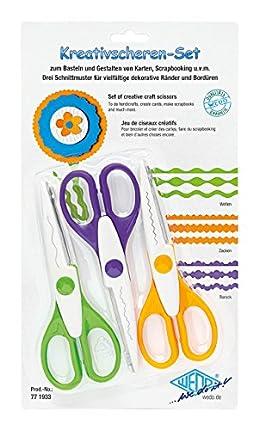 Wedo 0771933 - Tijeras creativas, 3 cortes, multicolor
