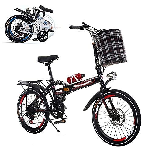 Bicicleta plegable para adultos, bicicleta portátil de 26 pulgadas, velocidad variable, amortiguación, amortiguación, frenos de disco dobles delanteros y traseros, marco reforzado, neumáticos antides