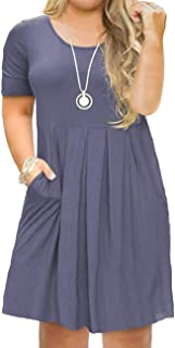 Women's Plus Size Short Sleeve Dress Casual Pleated Swing Dresses with Pockets