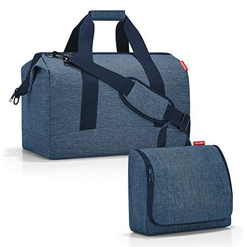 reisenthel Set sac de voyage Allrounder taille L avec trousse de toilette toiletbag taille XL - Bleu - Twist Blue, Large