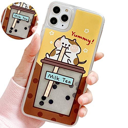 SGVAHY Quicksand Case for iPhone 11, Creative Fun Liquid Pearl Milk Tea Design Cute Bear PC Hard Back Cover Soft Silicone Bumper Protective Case (Cat, iPhone 11)