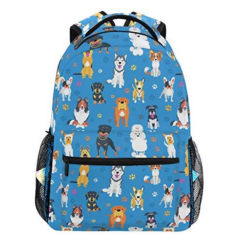 Oarencol Mochila de dibujos animados con diseño de huellas de perro, color azul, mochila para viajes, escuela, universidad, para mujeres, hombres, niñas y niños