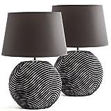 Set in due BRUBAKER Lampada da tavolo in ceramica anthracite, paralume anthracite - Altezz...