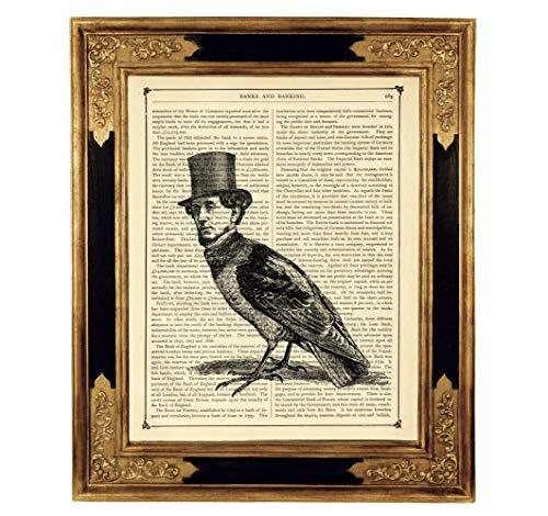 Steampunk Vogelmann Gentleman Poster Zylinderhut Kunstdruck auf viktorianischer Buchseite Rabe Bild Geschenk ungerahmt