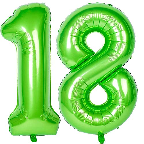 Ouinne Ballon Zahl 18, 40 Zoll Helium Folie Luftballon 18 Geburtstag Folienballon Geburtstag Dekoration Set Riesen Folienballon Fur Party (Rose) (Grün)