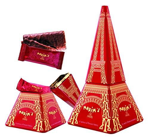 Maxim's de Paris | 14 Crepes Dentelle au Chocolat | Boite Metalique Tour Eiffel 7 Crepes Dentelles au Chocolat Lait -7 Crepes Dentelles Chocolat Noir