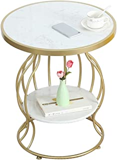 Lcxliga Coffee Tables Living Room Table Furniture Nordic Marble Side Table - Double Layer Round End Bedside Table - White ...