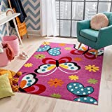 Well Woven Modern Rug Daisy Butterflies Pink 5' x 7' Accent Area Rug Entry Way Bright Kids Room Kitchn Bedroom Carpet Bathroom Soft Durable Area Rug