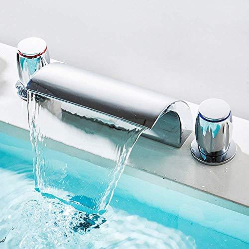 LIANGANAN Limpia de tres orificios Grifo Ducha Lavabo Lavabo caliente y frío del agua mezclada la apertura del grifo de luz LED Display