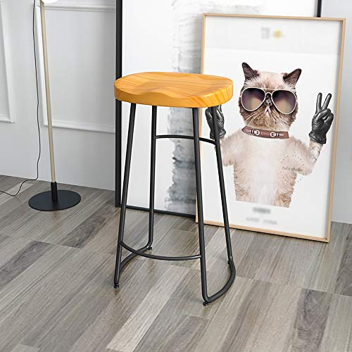 WJT-Barstool Solid Wood Nordic Modern Minimalist Bar Stool Home Bar Creative Coffee Casual Dining Stool Wrought Iron High Chair Size: 42×32×75cm (Color : Light Brown)
