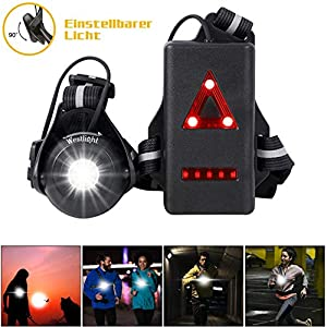 WESTLIGHT Linterna de correr recargable por USB, impermeable, ligera, para correr, 500 lúmenes, ángulo de haz ajustable… 1