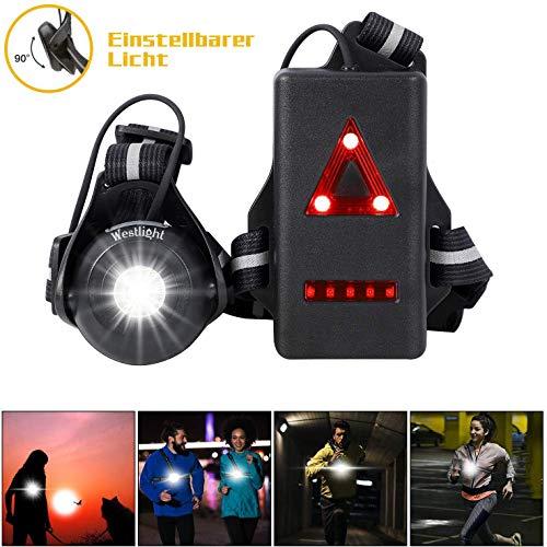 WESTLIGHT Lauflicht,wiederaufladbare USB LED Lauflampe Sport,wasserdicht,leichtgewichtige Lampe zum Laufen,500 Lumen,Einstellbarer Abstrahlwinkel,perfektes Licht zum Joggen,Angeln,Campen,für Kinder