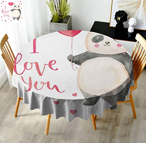 I Love You 60' Round Table Cloths, Cute Panda Bear Holding A Balloon Valentines Hearts Watercolor Art Fabric Tablecloth for Dining Room Restaurant Dark Coral Ivory Gray