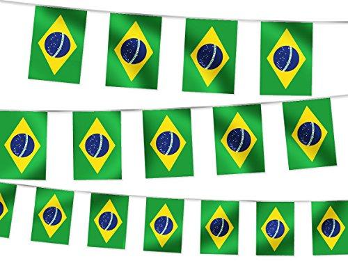 Alsino WM Wimpelkette Fahnenkette 4,5 m Flaggenkette 32 Teilnehmerländer Fanartikel, wählen:W-BR Brasilien 4.50 m