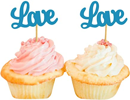 Darling Souvenir Love Cupcake Toppers, Wedding Party Dessert Decorations - Pack of 40