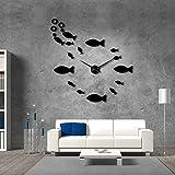 Fryymq DIY 47 Inches Reloj de Pared de Peces y Espuma en la Pared de la Mesa de decoración del Acuario Decorada en casa del Artista