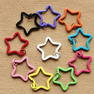 Topxome 20pcs Kawaii Color Painted Key Holder Split Rings DIY Accessory Metal Star Shaped Candy Keychain Key Rings Decoden 35MM
