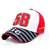 DELLA Men Women Moto GP Motorfiets Baseball cap Italian Racer 58 Simoncelli San Carlo Snapback Hip Hop Fashion Unisex Hat-Red