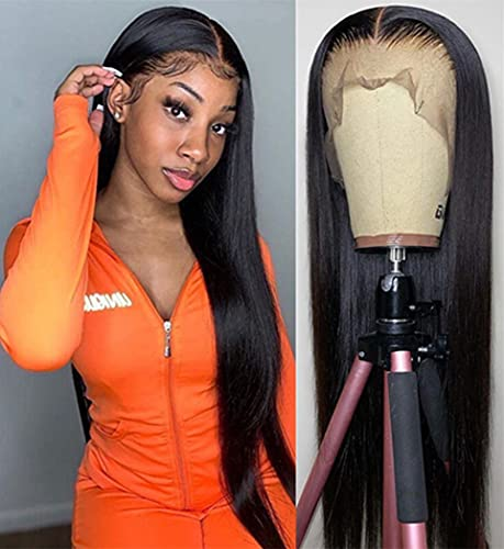 NUOF Lace Front Wigs Human Hair Straight (18Inch) 13x4 Lace Frontal Wig Brazilian Virgin Human Hair Pre Plucked with Baby Hair for Black Women 150% Density Natural Color