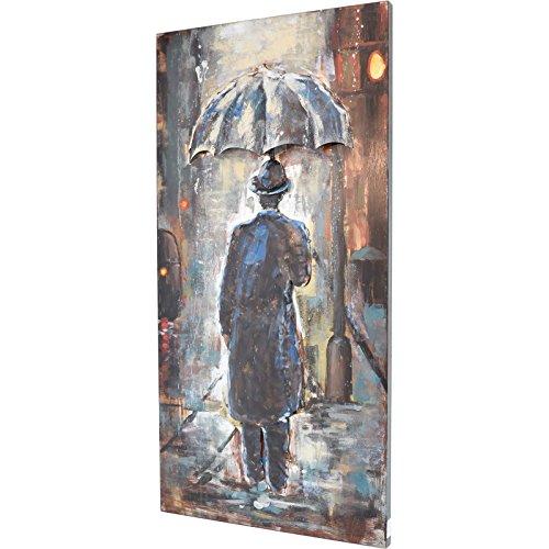 MÖBEL IDEAL 3D Metallbild Mann im Regen Wandbild 60 x 120 cm Bild aus Metall in Handarbeit
