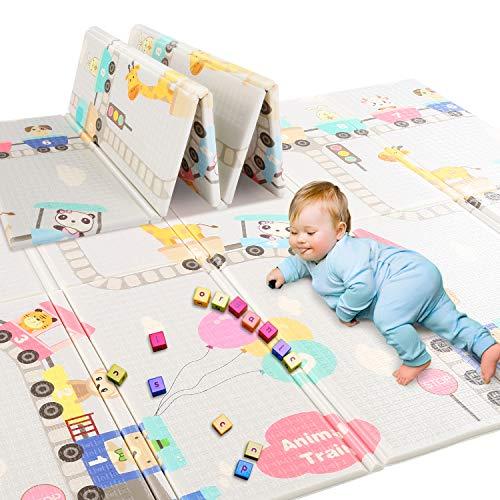 Caroma Baby alfombra de juego grande plegable, no tóxica, espuma XPE, antideslizante e impermeable, para uso interior o exterior para niños pequeños, 200 x 180 cm (78.7 x 70.9 x 0.6 Inch, Tierzug)